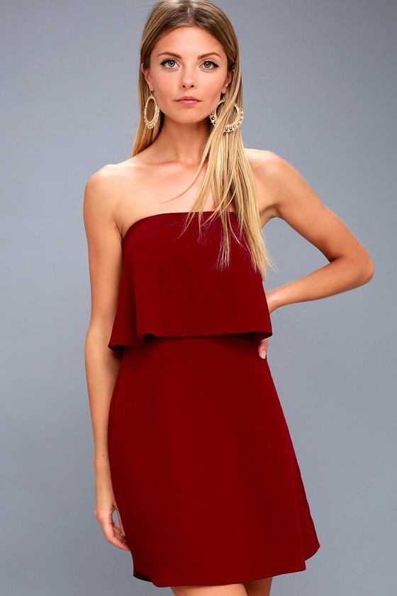 All Night Burgundy Strapless Dress 1