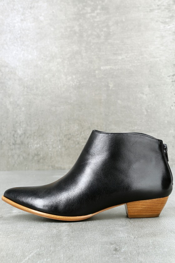 Aida Black Leather Ankle Booties