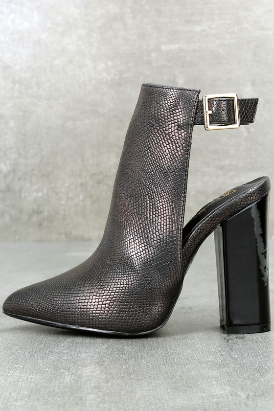 Kyliah Black Snake Print High Heel Ankle Booties