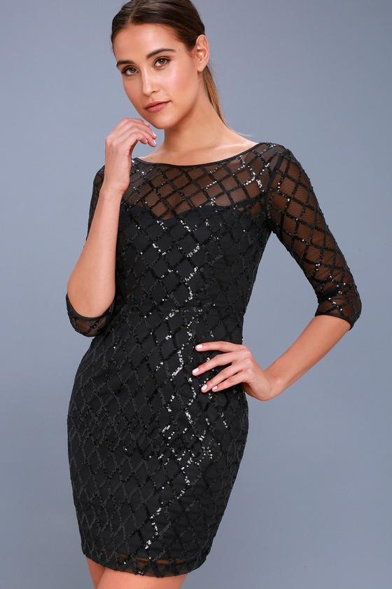 Party Favor Black Sequin Bodycon Dress
