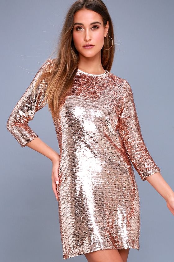 Main Event Rose Gold Sequin Sheath Dress