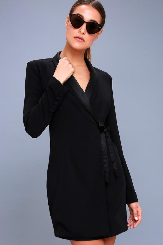 4c9fe0f45cae Chic Black Dress - Blazer Dress - Wrap Dress