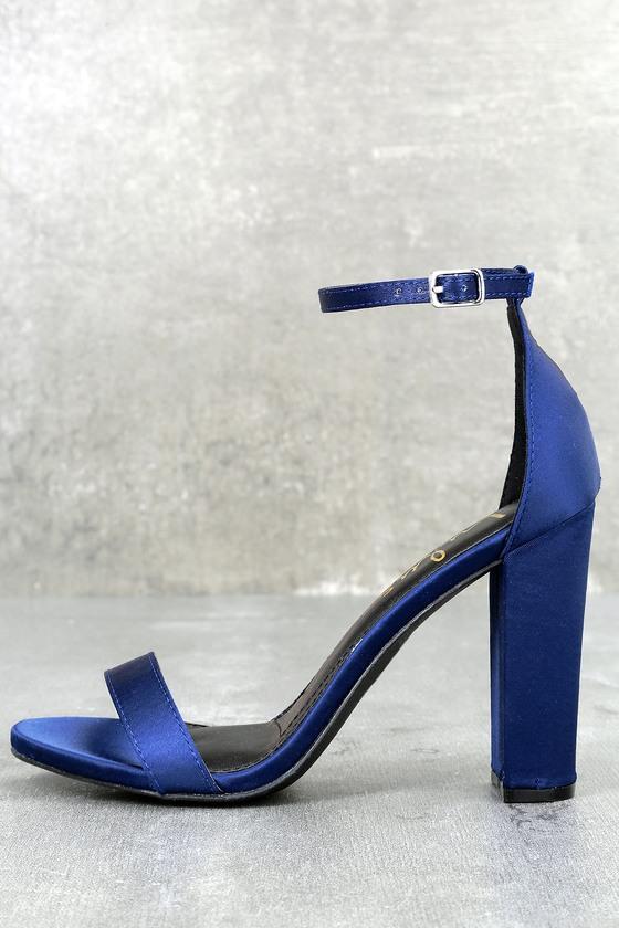 Taylor Navy Satin Ankle Strap Heels