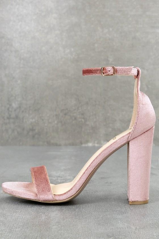 Taylor Mauve Velvet Ankle Strap Heels