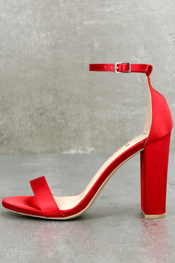 Sexy Red Satin Heels Ankle Strap Heels Single Sole Heels