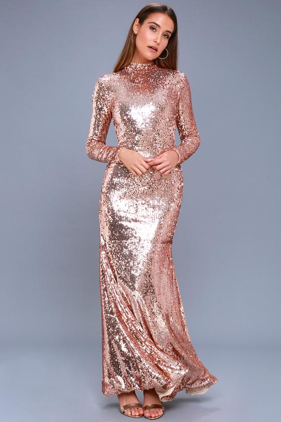 Chic Rose Gold Dress - Sequin Dress - Long Sleeve Maxi Dress 84926b7b6