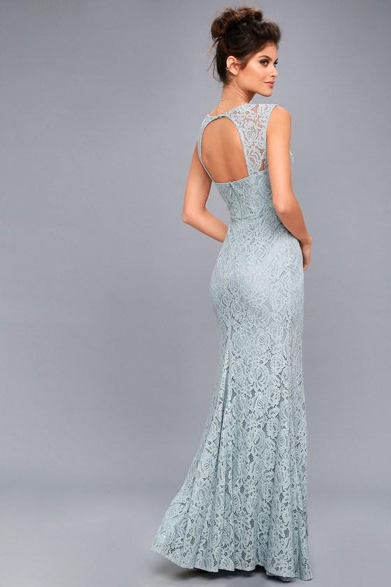 Rosetta Slate Blue Lace Maxi Dress