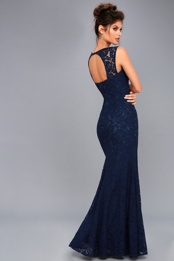 Rosetta Navy Blue Lace Maxi Dress