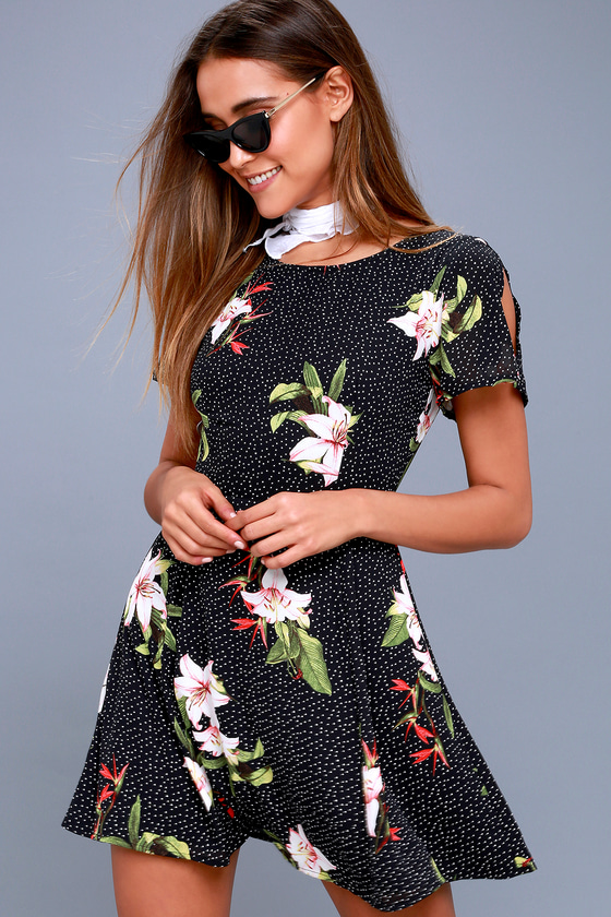 Avant Garden Black Floral Print Skater Dress