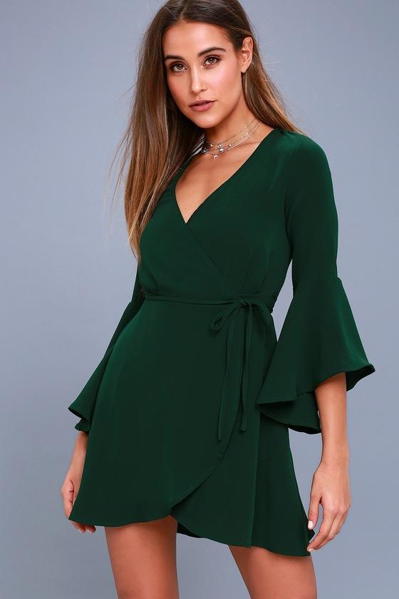 Chrissy Forest Green Flounce Sleeve Wrap Dress