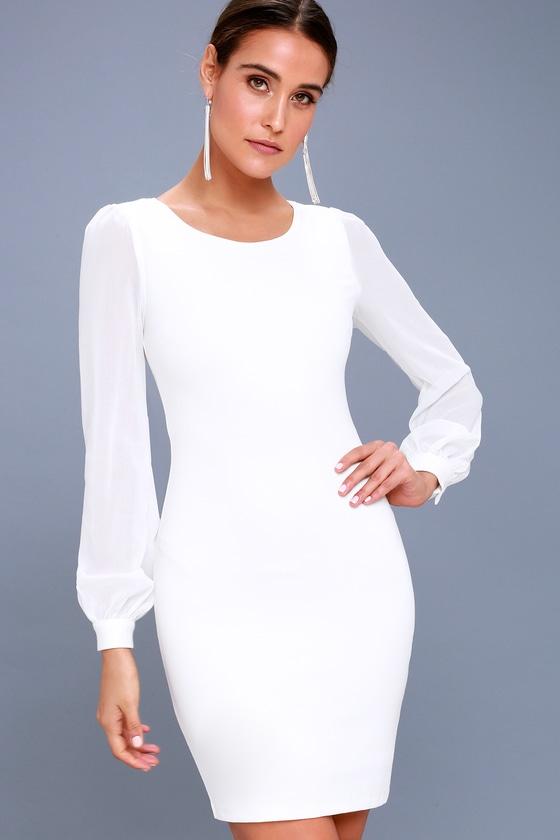 Long sleeve white dress cheap