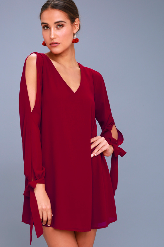 First Date Wine Red Long Sleeve Shift Dress
