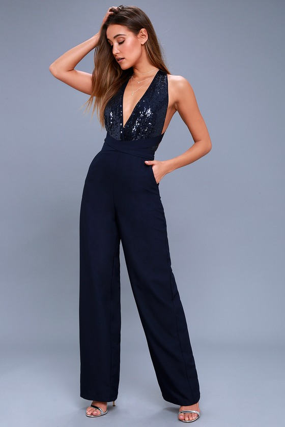 Vintage High Waisted Trousers, Sailor Pants, Jeans Disco Heaven Navy Blue Sequin Jumpsuit - Lulus $56.00 AT vintagedancer.com