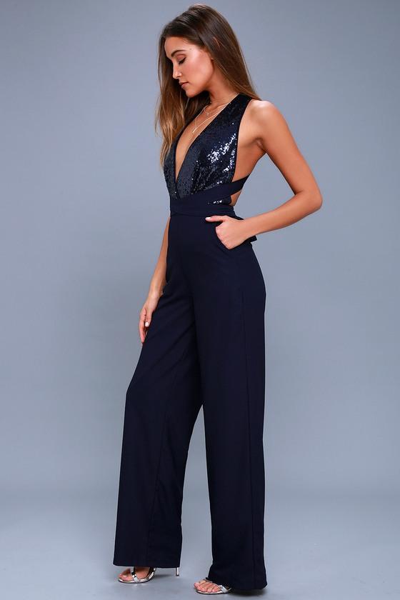 5e8cdc1e76d3 Chic Navy Blue Jumpsuit - Sequin Jumpsuit - Wide-Leg Jumpsuit - $68.00
