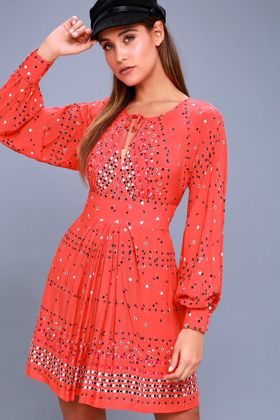 Coryn Coral Orange Print Long Sleeve Dress