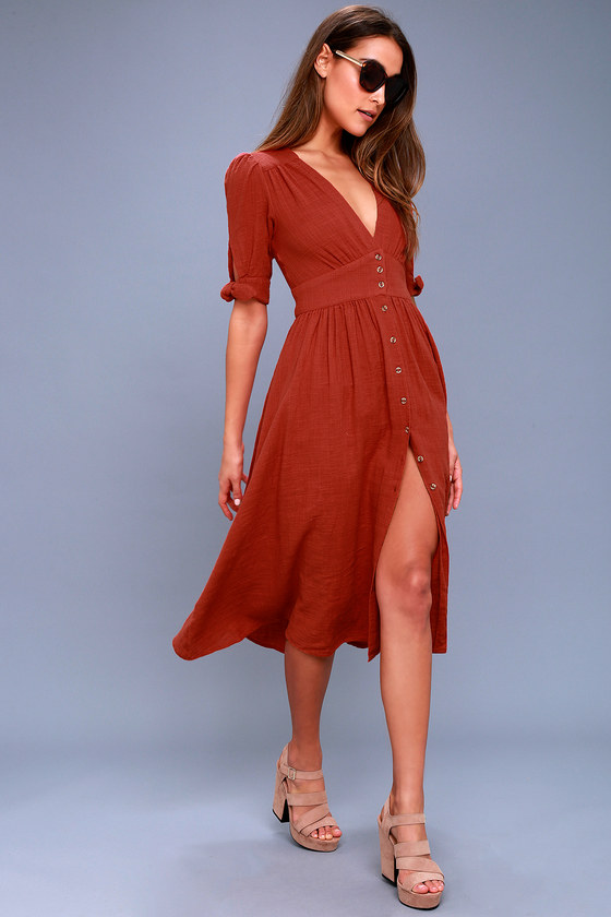 Love of My Life Rust Orange Midi Dress