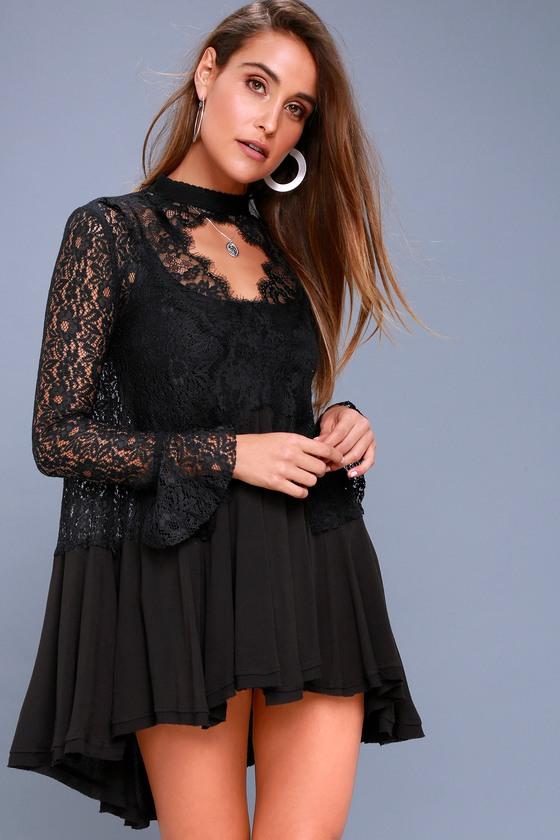 75870aebc95 Free People New Tell Tale - Black Lace Long Sleeve Tunic