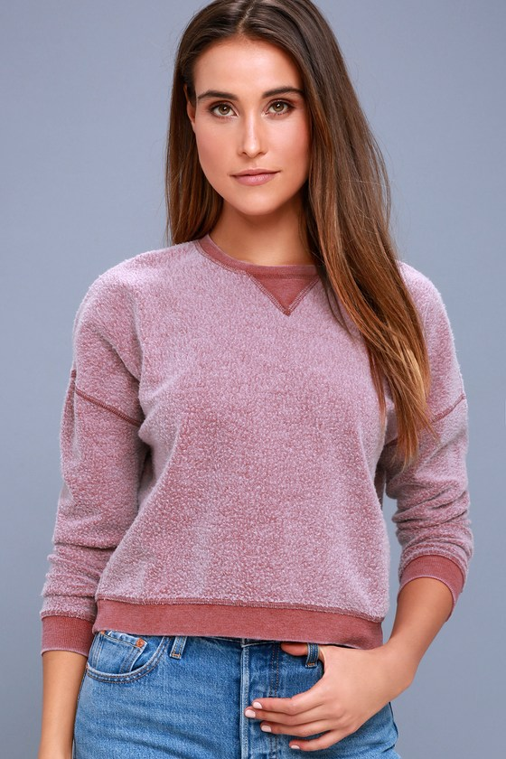 Sweet Embrace Washed Burgundy Cropped Sweatshirt