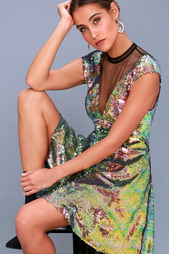Dance Til Dawn Green Sequin Skater Dress