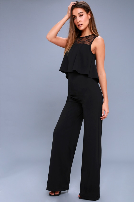 Hollywood Heights Black Lace Jumpsuit