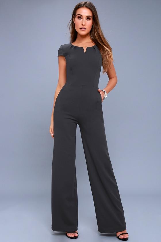 9667f4a6aaf4 Goal-Getter Charcoal Grey Short Sleeve Jumpsuit