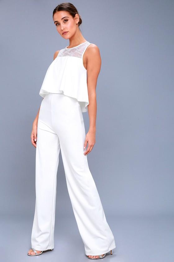 Glamorous White Jumpsuit Lace Jumpsuit Flounce Jumpsuit