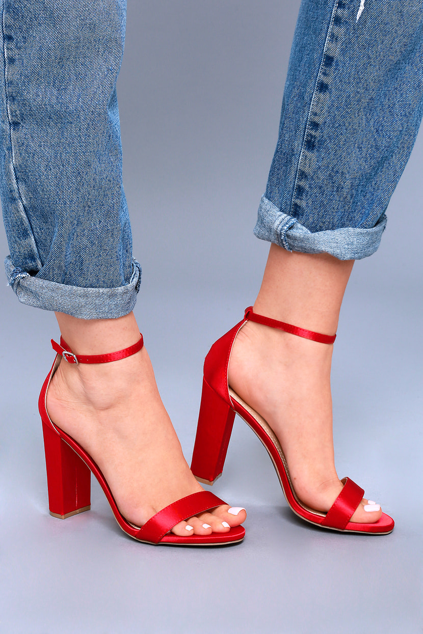 Red High Heels Ankle Strap