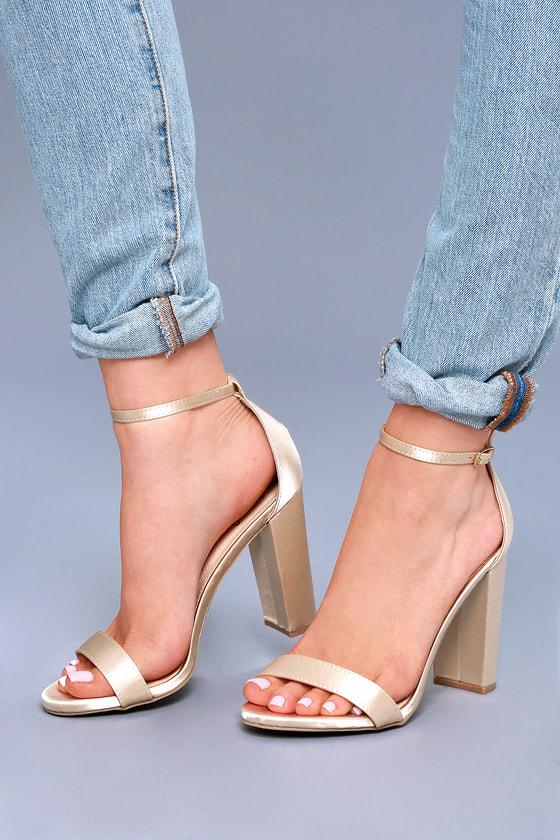 50e12b6c3e0 Taylor Champagne Satin Ankle Strap Heels