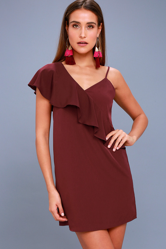 Time of Your Life Burgundy Asymmetrical Shift Dress 2