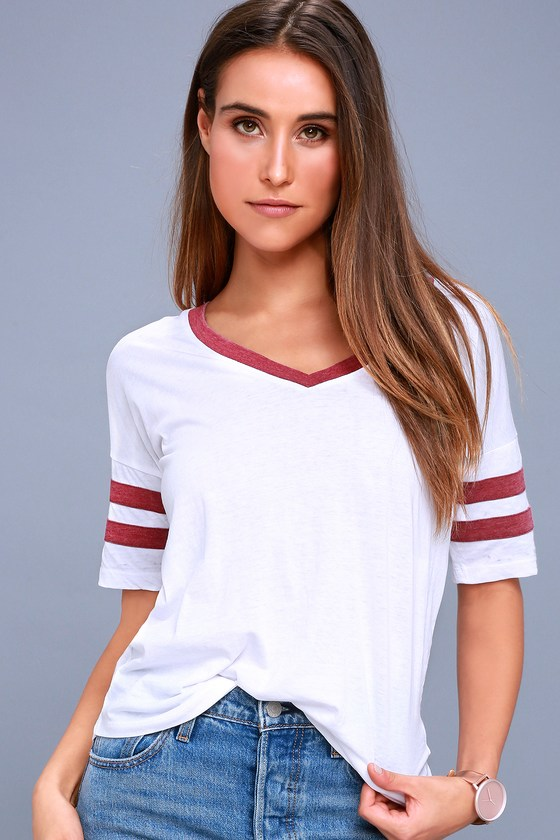 Outfielder Washed Burgundy and White Tee
