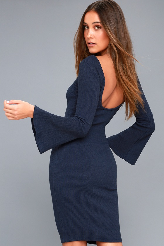 Flair Play Navy Blue Bodycon Midi Sweater Dress