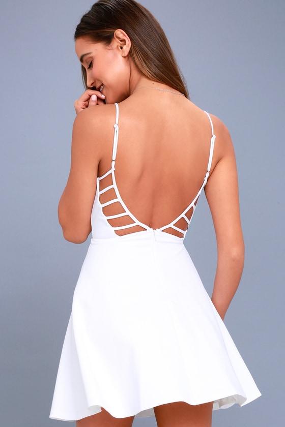 7ecc98d1f82e Cute White Dress - Skater Dress - Cutout Dress - LWD