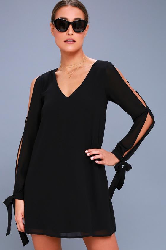 First Date Black Long Sleeve Shift Dress 1