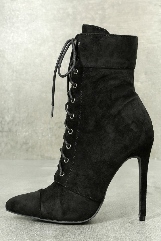 Alasdair Black Suede Lace-Up High Heel Booties