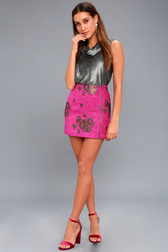 b36b6720c090b Free People Movin On - Fuchsia Skirt - Embroidered Skirt
