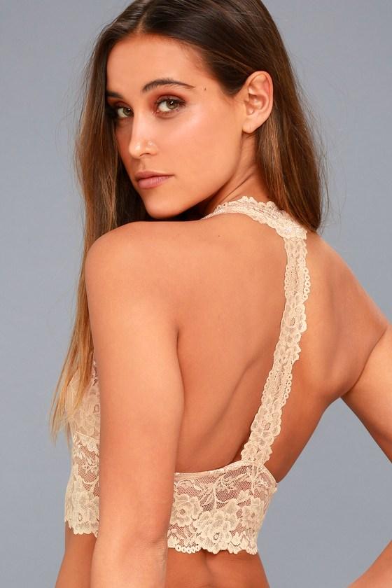 Heartbreaker Nude Lace Halter Bralette