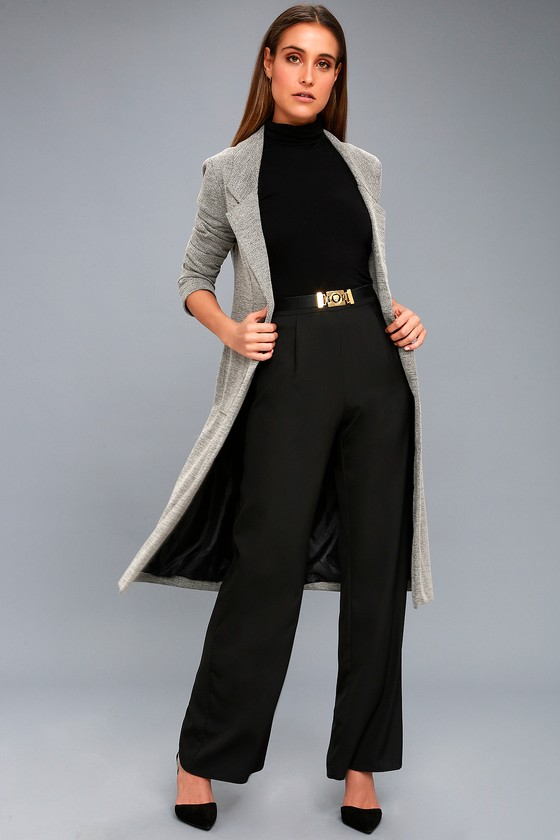 Press Release Black Wide-Leg Pants