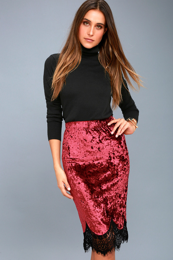 good looking finest selection super specials Luciano Burgundy Velvet Lace Hem Midi Skirt