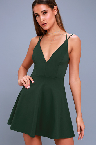 f3cc1847ee Believe in Love Forest Green Backless Skater Dress