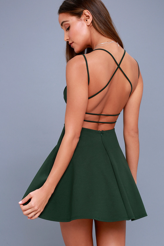 Sexy Forest Green Dress Backless Dress Backless Skater