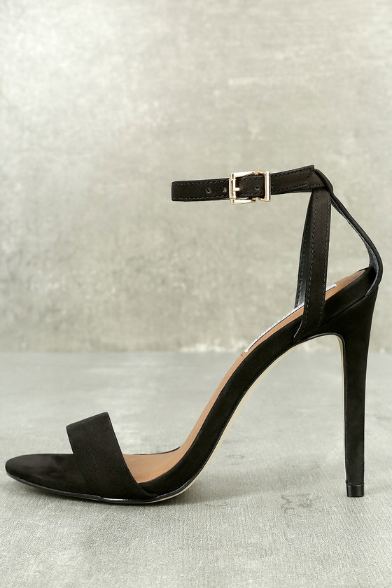 Lacey Black Nubuck Leather Ankle Strap Heels
