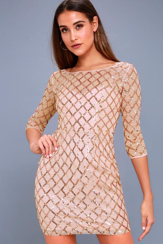 Party Favor Rose Gold Sequin Bodycon Dress 1