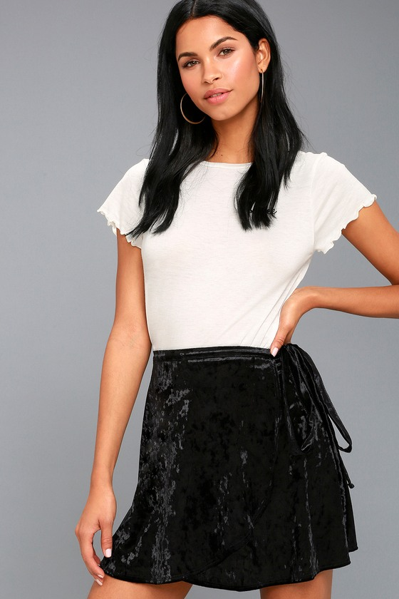 2df559f811a411 Chic Black Skirt - Velvet Skirt - Wrap Skirt - Mini Skirt