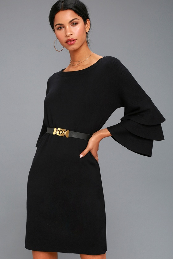 78204e3d36 Chic Black Sweater Dress - Tiered Flounce Sleeve Dress