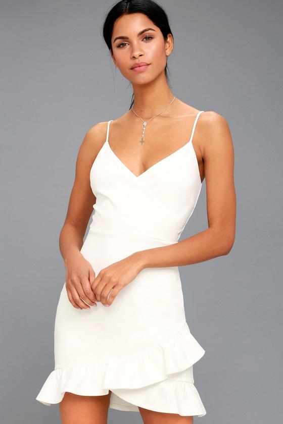 0a08d8167317 Sexy White Dress - LWD - Bodycon Dress - Surplice Dress