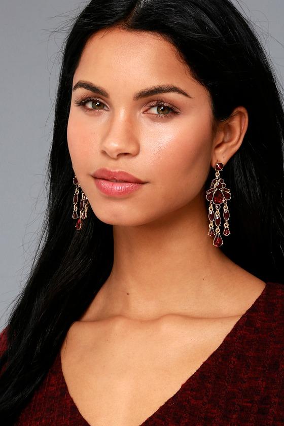 Sinead Gold and Burgundy Rhinestone Earrings 1