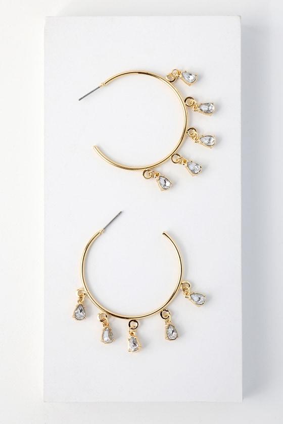 Tayrona Gold Rhinestone Hoop Earrings 2