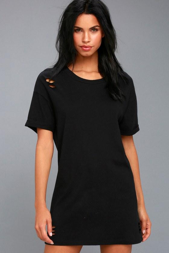 149601024a Trendy T-Shirt Dress - Black Dress - Distressed Dress