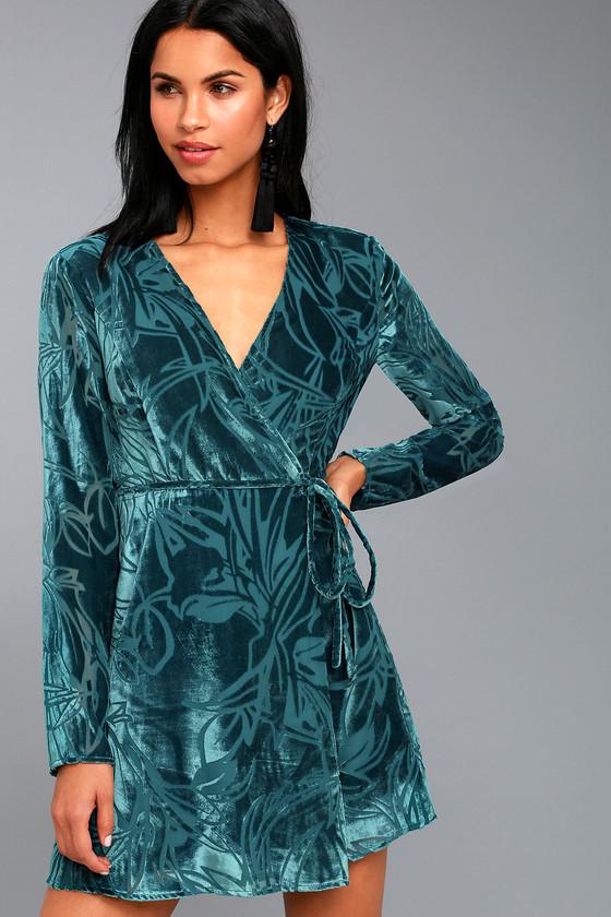 71441a8cfb3c Stunning Teal Velvet Dress - Long Sleeve Dress - Wrap Dress