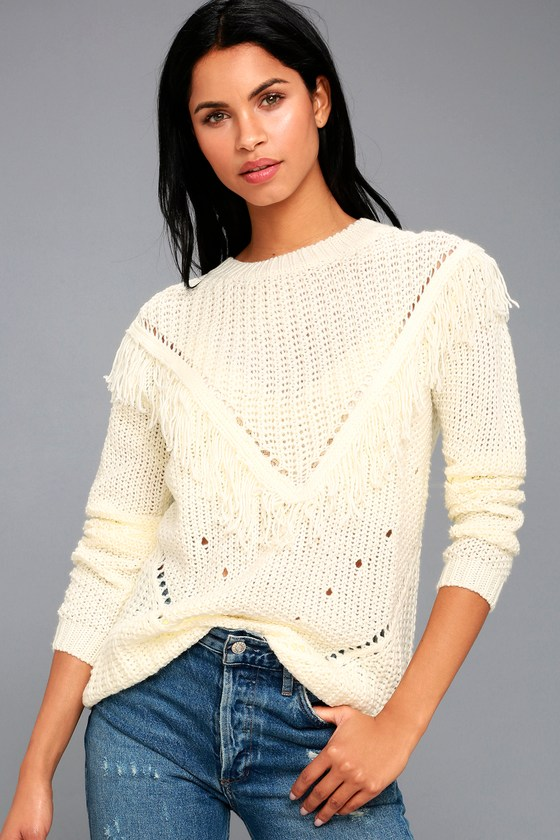 Cute Cream Sweater - Fringe Sweater - Knit Sweater